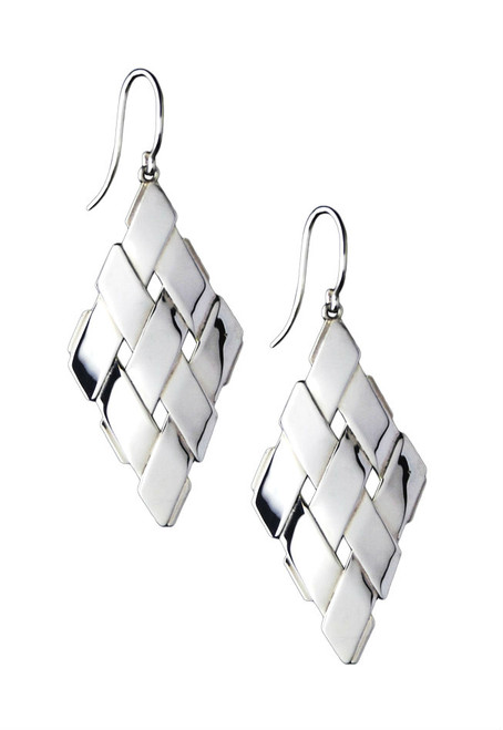 Sterling Silver Diamond Shape Earrings