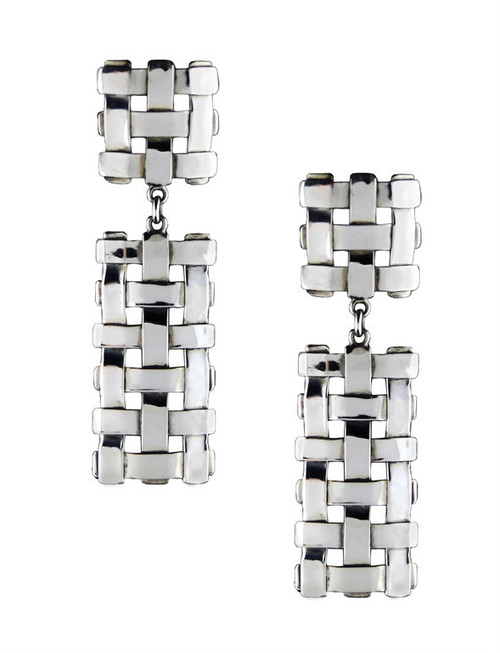 Sterling Silver Square And Trellis Earrings