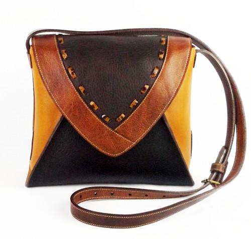 Laredo Cross Body Bag In Saddle Multi-Tone Leather