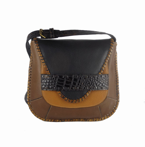 Camino Cross Body Bag In Saddle Multi-Tone Leather