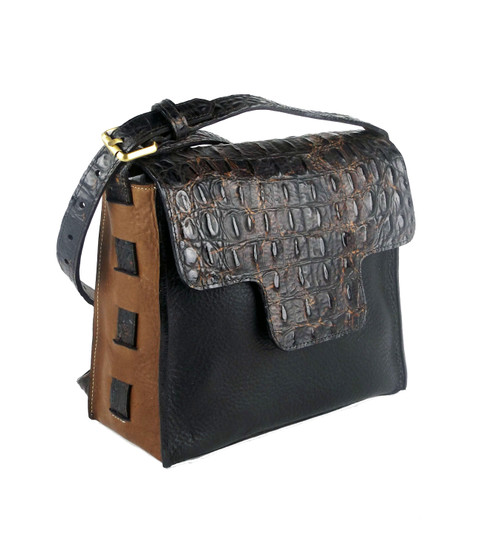 Sonora Cross Body Bag In Black And Cognac Leather