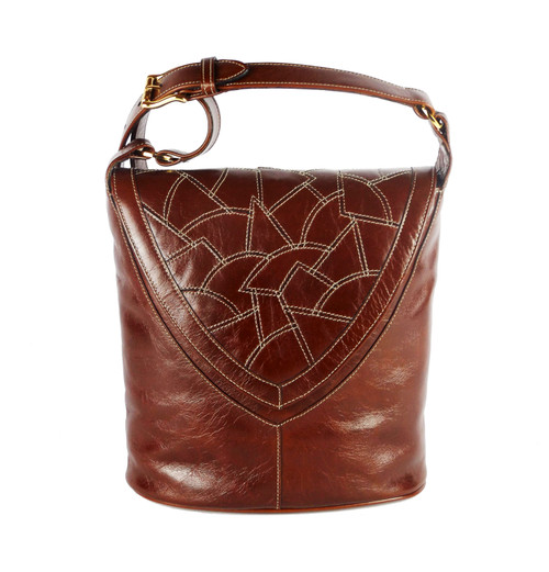 Morocco Mosaic Flap Bucket Bag in Cognac