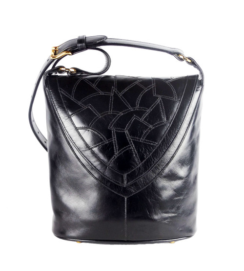 Morocco Mosaic Flap Bucket Bag in Black