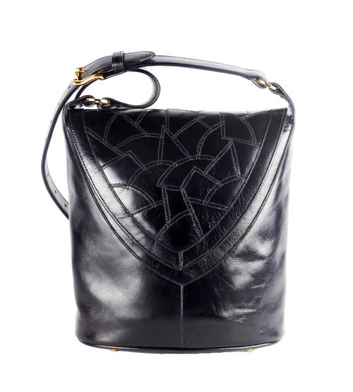 Morocco Mosaic Flap Bucket Bag in Black
