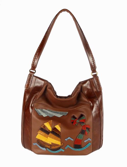 """China Sea"" Shoulder Bag In Cognac"