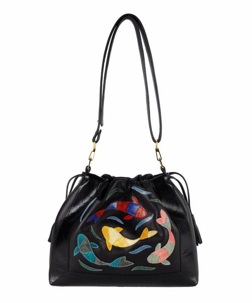 """Senso-ji Pool"" Drawstring Shoulder Bag In Black"
