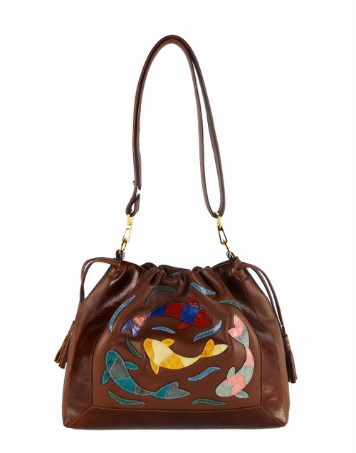"""Senso-ji Pool"" Drawstring Shoulder Bag In Cognac"