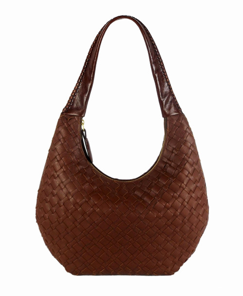 Lexington Woven Leather Shoulder Bag In Cognac