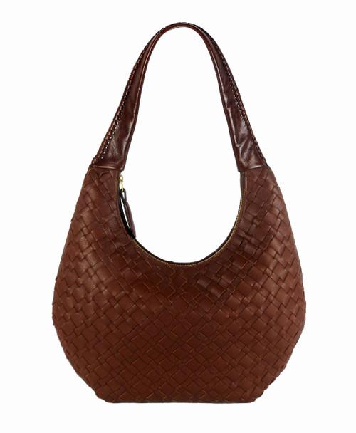 Lexington Woven Leather Shoulder Bag In Cognac