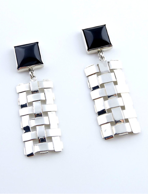 Sterling Silver Trellis Earrings With Onyx