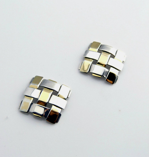 Sterling Silver And Gold Diagonal Square Earrings