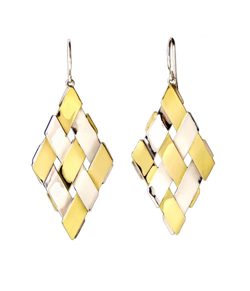 Sterling Silver And Gold Diamond Shape Earrings