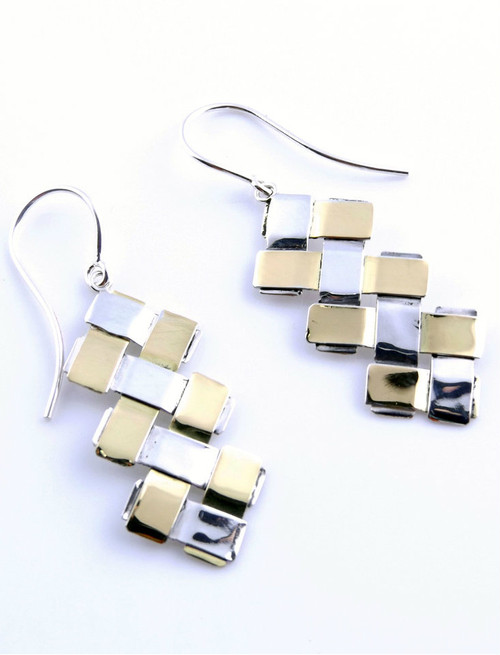 Sterling Silver And Gold Double Zig-Zag Earrings