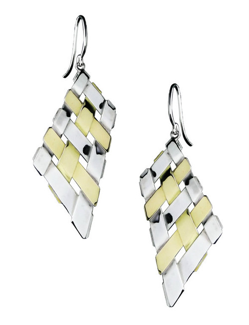 Sterling Silver And Gold Trapezoid Earrings