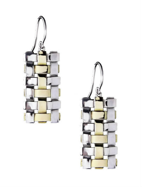 Sterling Silver And Gold Trellis Earrings