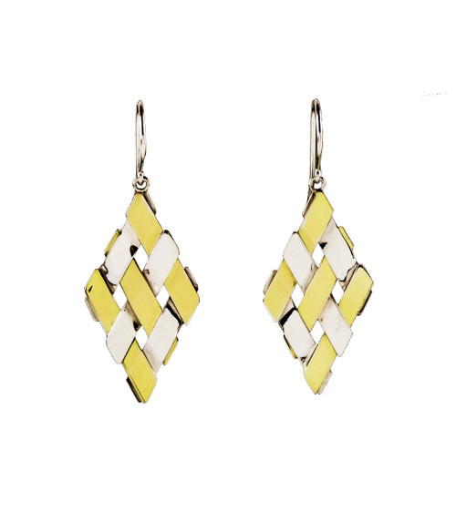 Sterling Silver And Gold  Petite Diamond Shape Earrings