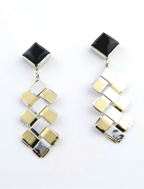 Sterling Silver And Gold Double Zig-Zag Earrings With Onyx