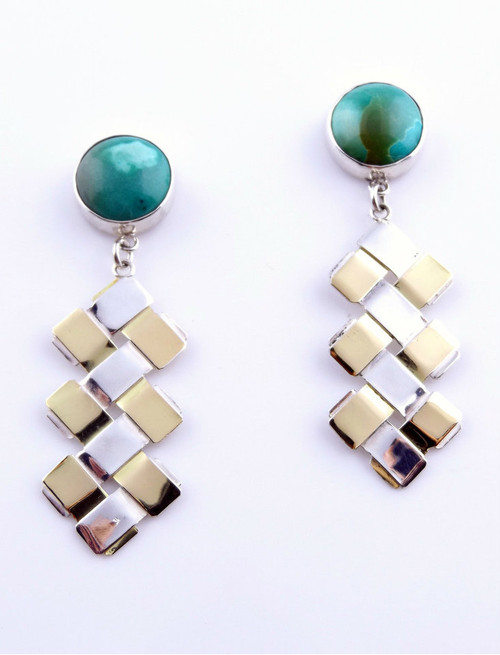 Sterling Silver And Gold Double Zig-Zag Earrings with Turquoise