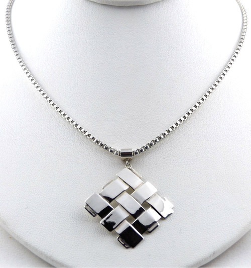Sterling Silver Diagonal Square Pendant Necklace