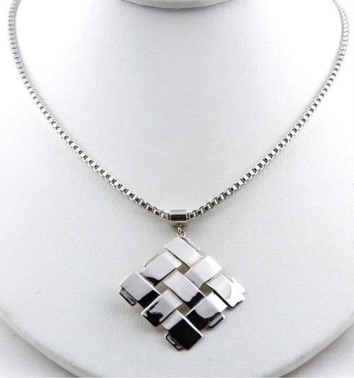 Sterling Silver Diagonal Square Pendant Necklace