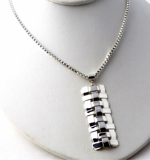 Sterling Silver Trellis Pendant Necklace