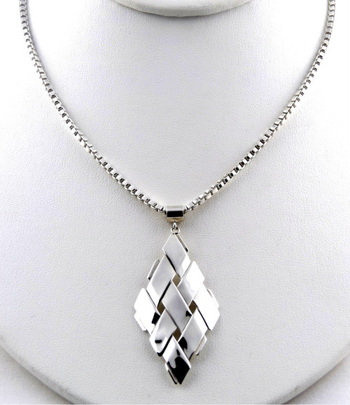 Sterling Silver Diamond Shape Pendant Necklace