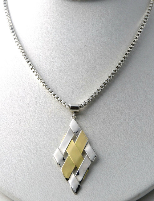 Sterling Silver And Gold Diamond Shape Pendant Necklace