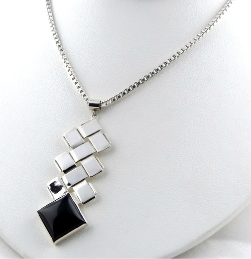 Sterling Silver Double Zig-Zag With Onyx Pendant Necklace