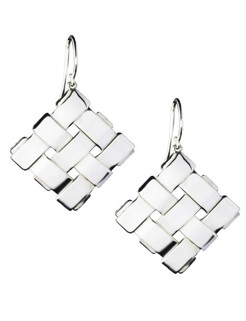 Sterling Silver Diagonal Square Earrings