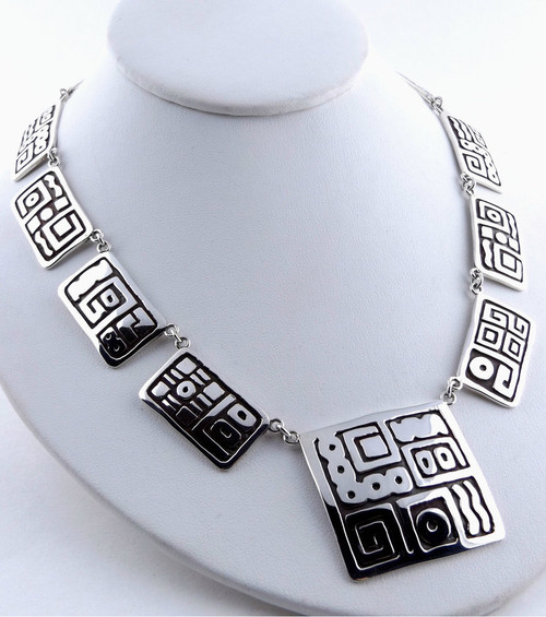 """El Astronomo De La Maya"" Sterling Silver Necklace"