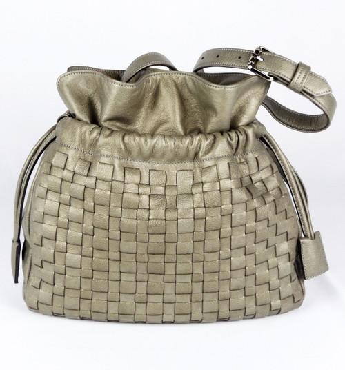 Box Weave Drawstring Shoulder Bag Silver Pearl