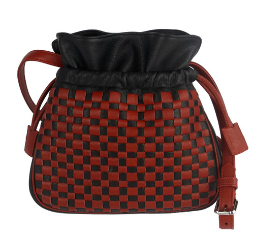 Amsterdam Drawstring Shoulder Bag Black And Red