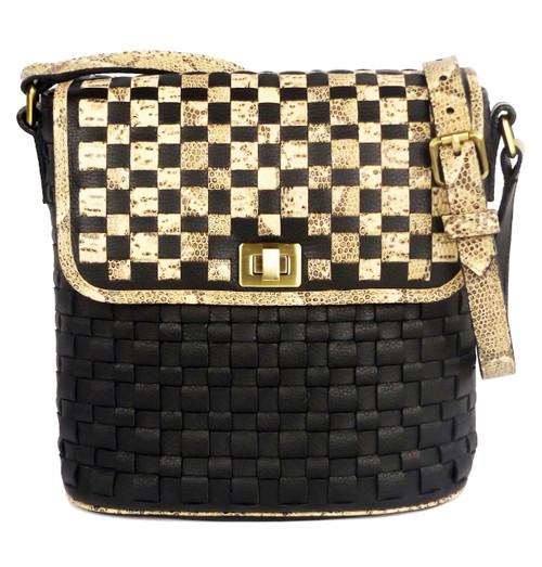 Astor Bucket Shoulder Bag Black And Natural Python