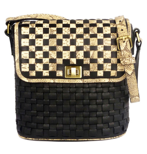 Astor Bucket Shoulder Bag Black And Natural Python