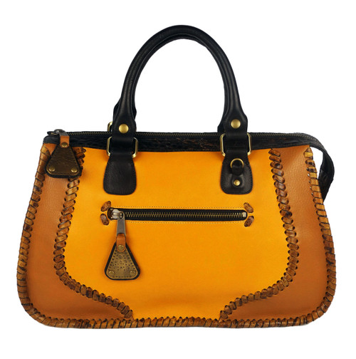 Leather Laced Zipper Satchel