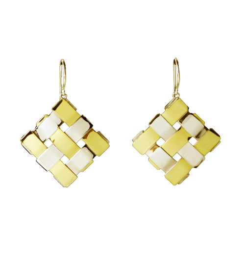 Sterling Silver And Gold Square Diagonal Earrings