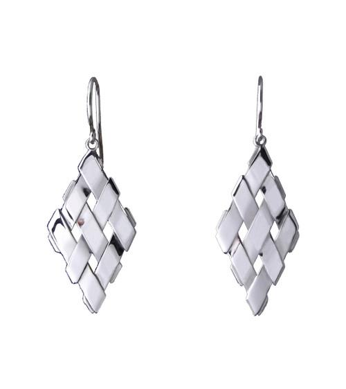 Sterling Silver Petite Diamond Shape Earrings