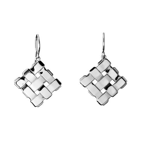 Sterling Silver Petite Diagonal Square Earrings
