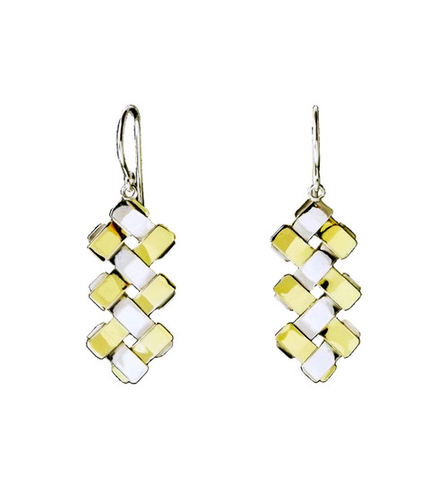 Sterling Silver And Gold Petite Double Zig-Zag Earrings