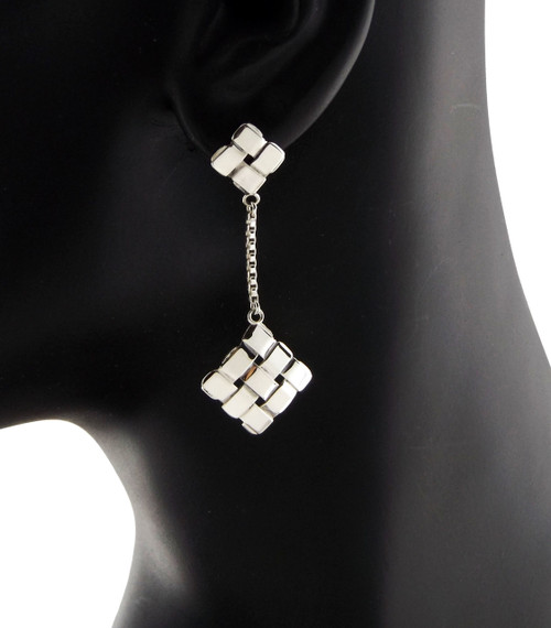 Sterling Silver Diagonal Squares Chandelier Earrings