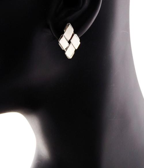 Sterling Silver Diamond Shape Stud Earrings