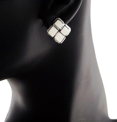 Sterling Silver Diagonal Square Clip Back Earrings
