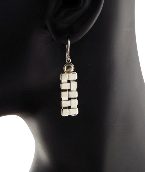 Sterling Silver Petite Trellis With Pyrite Earrings