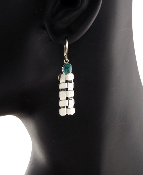 Sterling Silver Petite Trellis With Turquoise Earrings