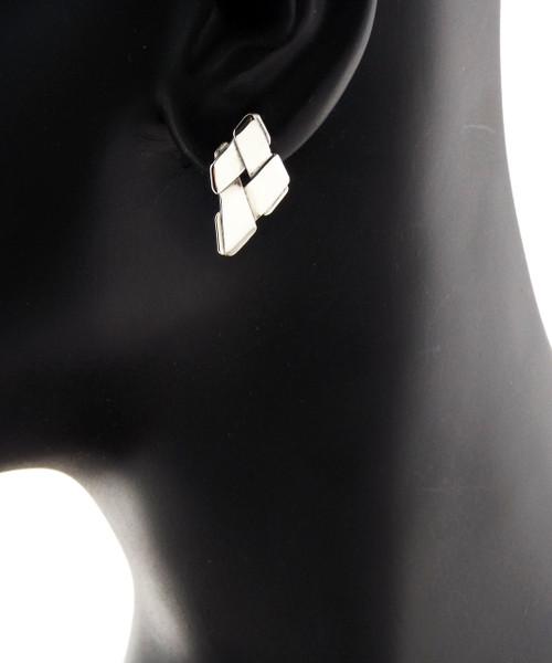 Sterling Silver Trapezoid Stud Earrings