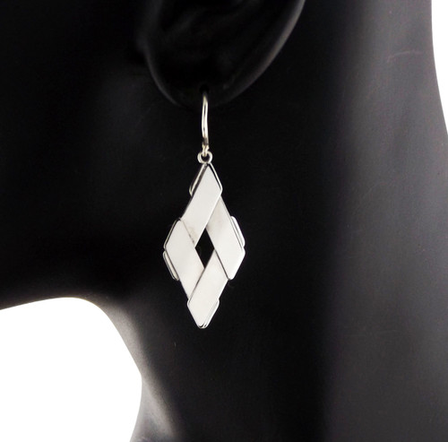Sterling Silver Diamond Quad Earrings