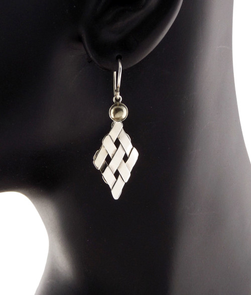 Sterling Silver Petite Diamond With Pyrite Earrings