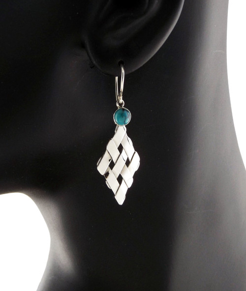 Sterling Silver Petite Diamond With Turquoise Earrings