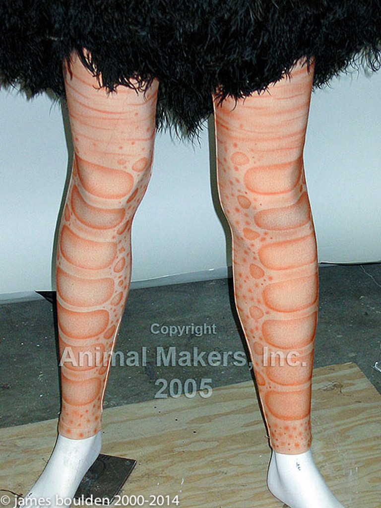 Tights close up of Animatronic ostrich costume