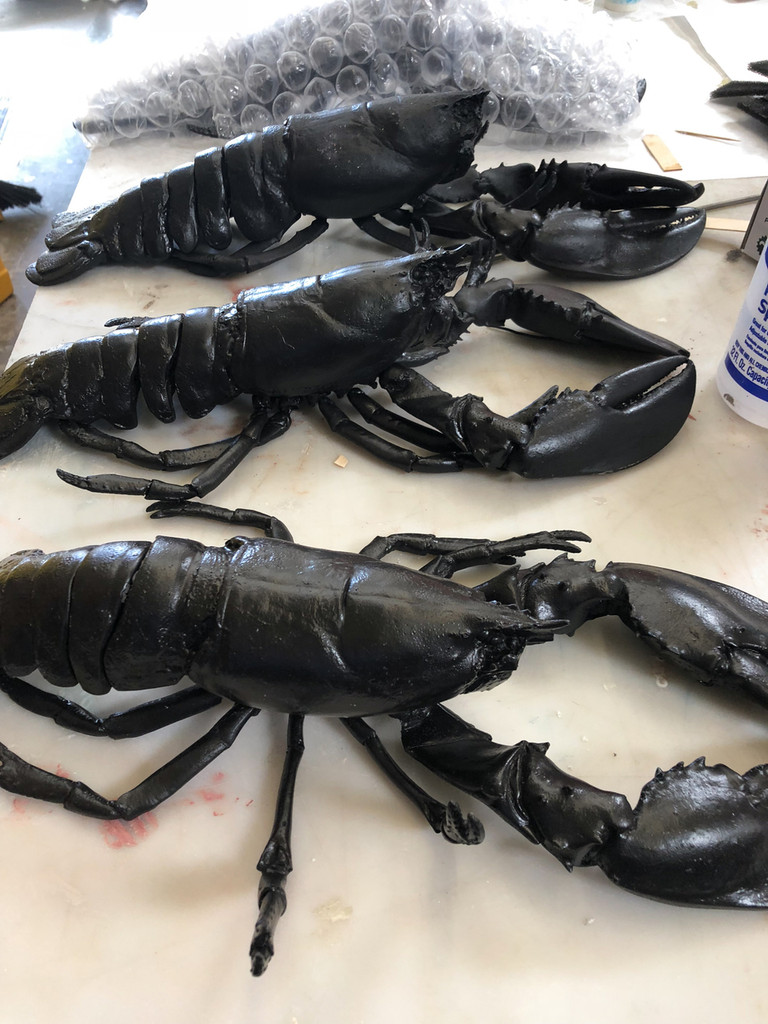 Realistic lobster movie prop that is flexible